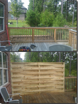 "More of a custom woodworking or carpentry project than fence repair. This is a privacy blind section of ""basket weave fence we installed on a deck and incorporated into the handrail."
